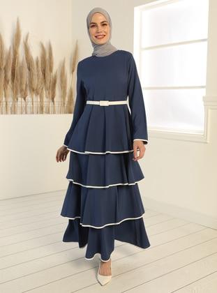 Belt Detailed Flounced Dress - Indigo