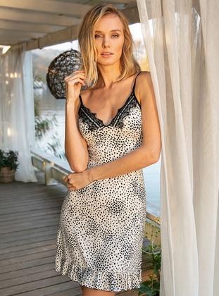 Ecru - Black - Leopard - V neck Collar - Nightdress