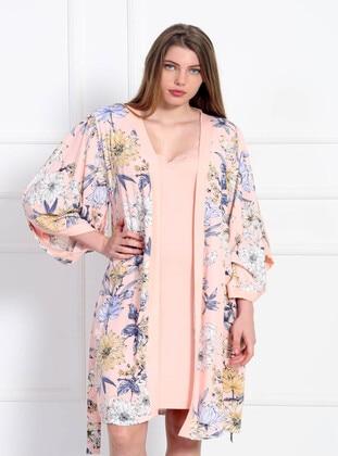 Pink - V neck Collar - Multi - Viscose - Pyjama Set