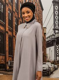 Stony Collar Asymmetric Tunic - Gray