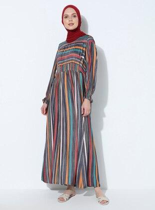 Mustard - Navy Blue - Stripe -  - Dress
