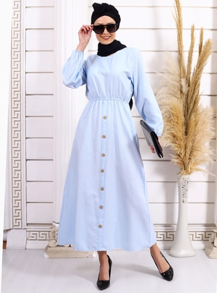 Baby Blue - Crew neck - Unlined - Acrylic -  - Dress
