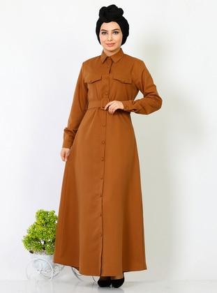 Tan - Point Collar - Unlined -  - Dress