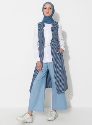 Blue - Stripe - Unlined - Vest - Timin