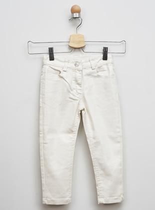 - Beige - White - Ecru - Girls` Pants