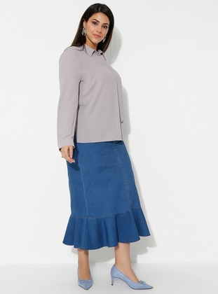 Navy Blue - Blue - Unlined - Denim -  Lyocell -  - Plus Size Skirt