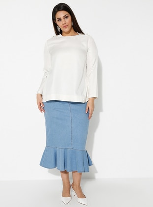 Blue - Unlined - Denim -  Lyocell -  - Plus Size Skirt