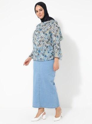 Blue - Unlined - Denim -  - Plus Size Skirt