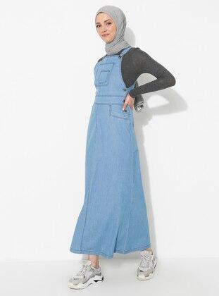 Blue - Unlined - Denim - Dress