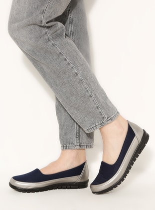 Casual - Navy Blue - Silver - Casual Shoes