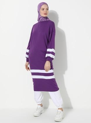 Purple - Crew neck -  - Tunic