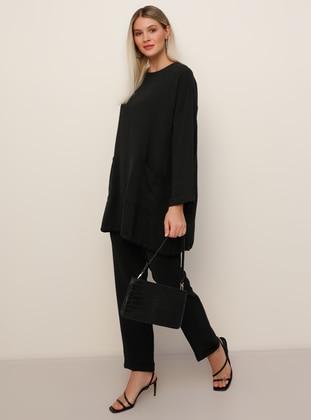Black - Crew neck - Unlined - Plus Size Suit - Alia