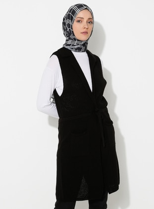 Black - Shawl Collar -  - Vest