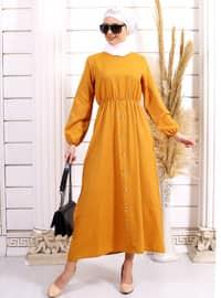 Hardal - Yuvarlak yakalı - Astarsız - Akrilik - - Elbise