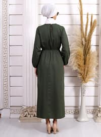 Green - Crew neck - Unlined - Acrylic - - Dress