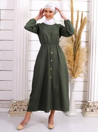Yeşil - Yuvarlak yakalı - Astarsız kumaş - Akrilik - - Elbise