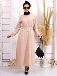 Vizon - Yuvarlak yakalı - Astarsız kumaş - Akrilik - - Elbise