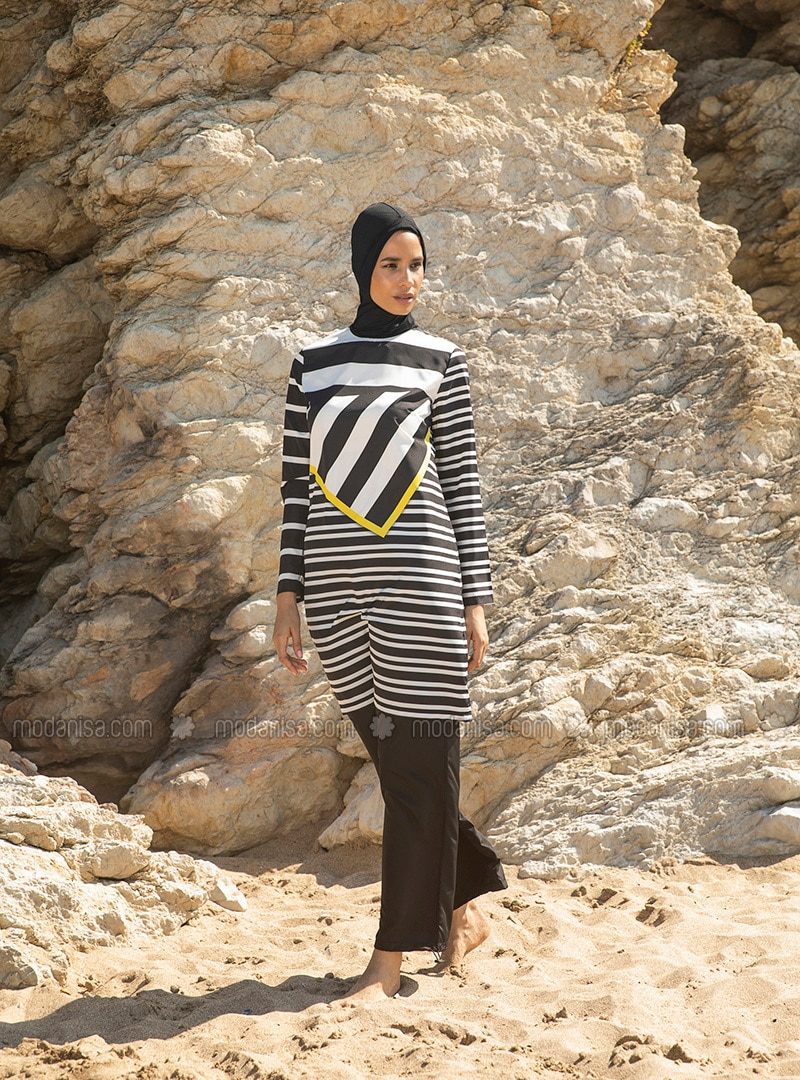 White - Black - Stripe - Fully Covered Swimsuits