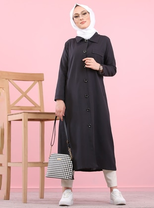 Black - Unlined - Point Collar -  - Trench Coat - Tofisa