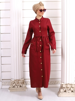 Maroon - Point Collar - Unlined -  - Dress