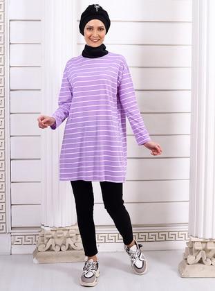 Lilac - Stripe - Crew neck -  - Tunic