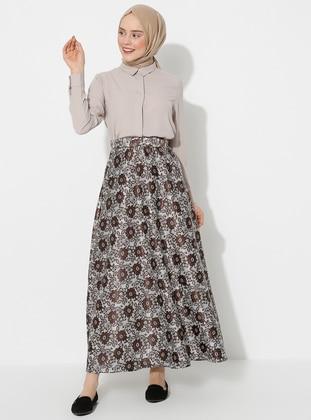 Ecru - Brown - Unlined - Skirt