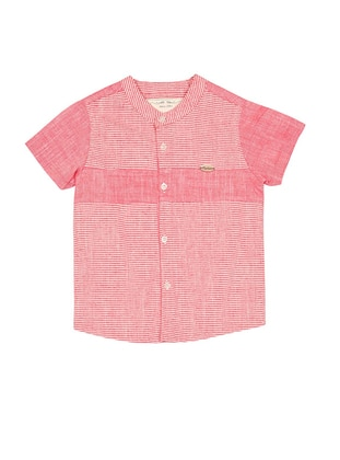Stripe - Crew neck -  - Unlined - Maroon - Boys` Shirt