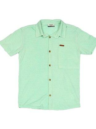 Point Collar -  - Unlined - Mint - Boys` Shirt