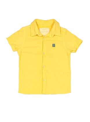 Point Collar -  - Yellow - Boys` Shirt