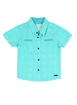 Point Collar -  - Turquoise - Boys` Shirt