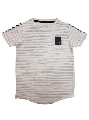 Stripe - Crew neck -  - Gray - Boys` T-Shirt