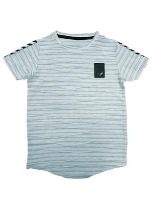 Stripe - Crew neck -  - Blue - Boys` T-Shirt