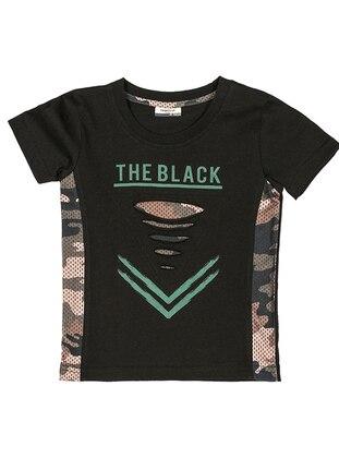 Crew neck -  - Unlined - Black - Boys` T-Shirt
