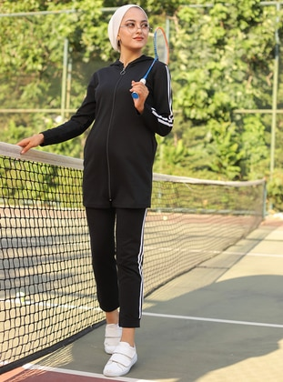 Black -  - Tracksuit Set -  Sports