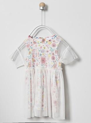 Multi - Crew neck - Multi - Pink - Baby Dress