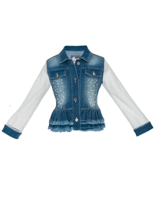 Point Collar -  - Fully Lined - Blue - Girls` Vest
