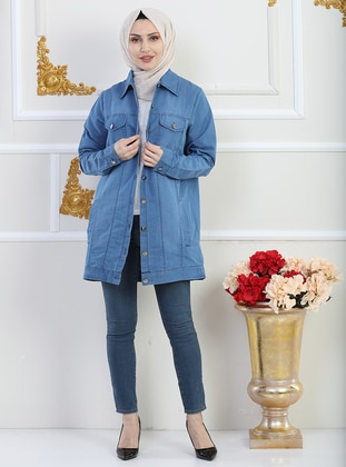 Blue - Unlined - Point Collar - Denim -  - Jacket