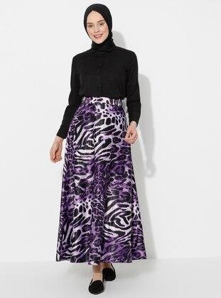 Purple - Black - Leopard - Unlined - Skirt