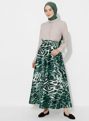 Black - Emerald - Leopard - Unlined - Skirt