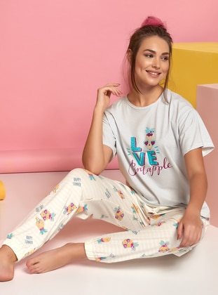 Multi - Crew neck - Multi -  - Pyjama Set