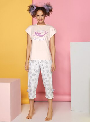 Multi - Salmon - Crew neck -  - Pyjama Set