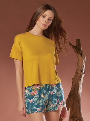 Mustard - Multi - Viscose - Short Set