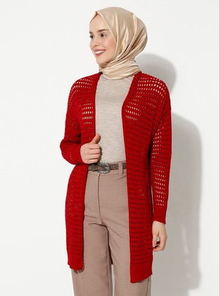 Red - Unlined -  - Knit Cardigans