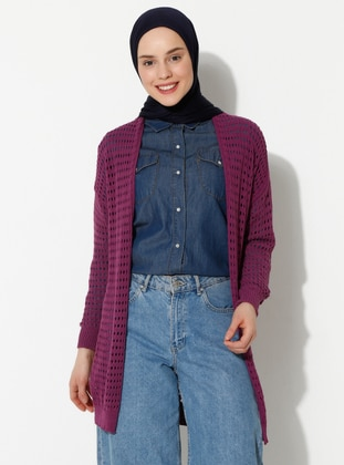 Purple - Unlined -  - Knit Cardigans