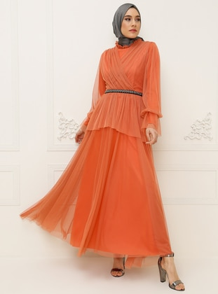 Onion Skin - Fully Lined - Crew neck - Muslim Evening Dress
