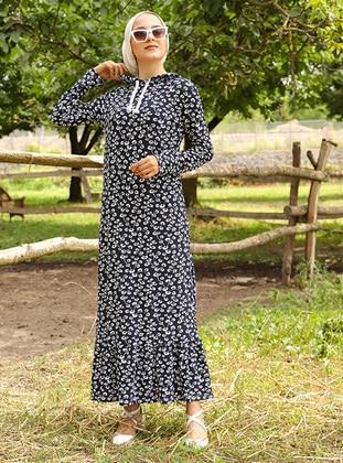 Navy Blue - Multi - Unlined - Dress