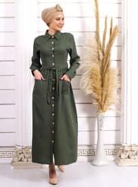 Yeşil - Fransız yaka - Astarsız kumaş - - Elbise