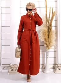 Kahverengi - Fransız yaka - Astarsız kumaş - - Elbise
