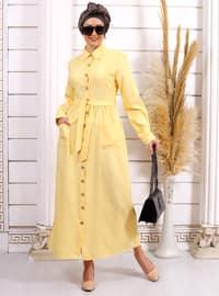 Sarı - Fransız yaka - Astarsız kumaş - - Elbise