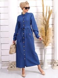 İndigo - Fransız yaka - Astarsız kumaş - - Elbise
